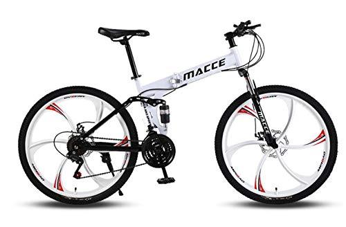 DUWIN Fahrrad Outdoor-Sport 24 ''26 '' HighCarbon Stahl Mountain Bike mit 17 '' Frame Doppelscheibenbremse 21/24/27 Geschwindigkeiten, mehr Farben Fahrräder,Weiß,26 inch 21 Speed