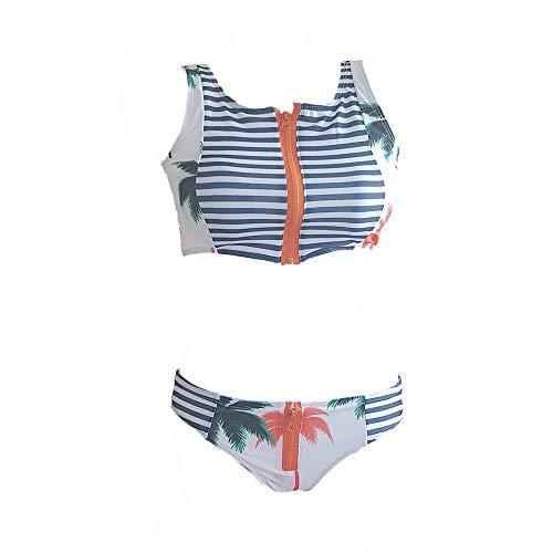 JiuRui Costumi da Bagno per Il Tempo Libero, Modelli Stampati con Cerniere Costumi da Bagno per Donna, Bikini Sexy a Due Pezzi a Vita Bassa (Colore : White Patterns, Dimensione : XL)