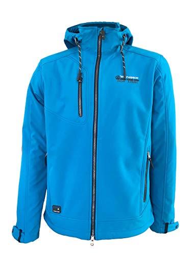 Dry Fashion Herren Softshelljacke Fehmarn Funktionsjacke Windjacke gefüttert Fleece, Farbe:Mittelblau, Größe:5XL