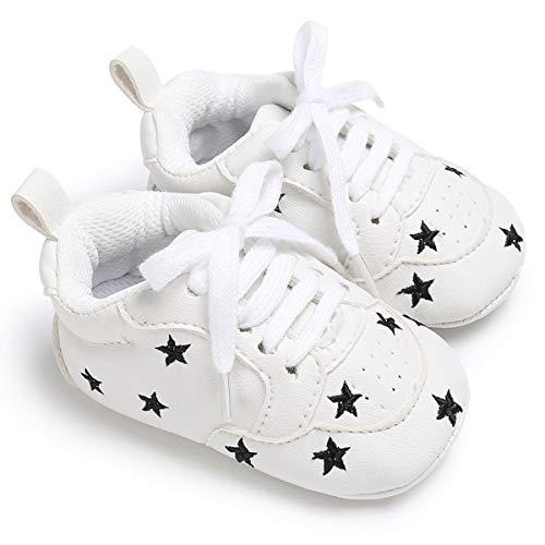 Zapatillas de mocasines antideslizantes de cuero antideslizante de Baby Girl Boy PU para caminar (Color : Black Star, Size : 9-12 Months)