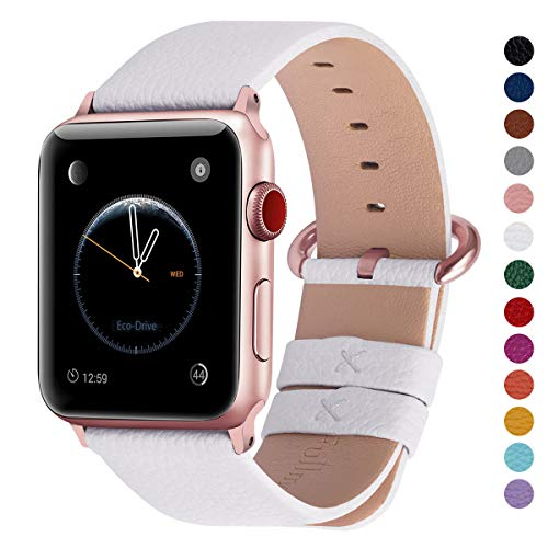 Fullmosa Compatible Apple Watch Band 42mm 44mm 40mm 38mm Leather Compatible iWatch Band/Strap Compatible Apple Watch Series 5 4 3 2 1, 42mm 44mm White + Rose Gold Buckle