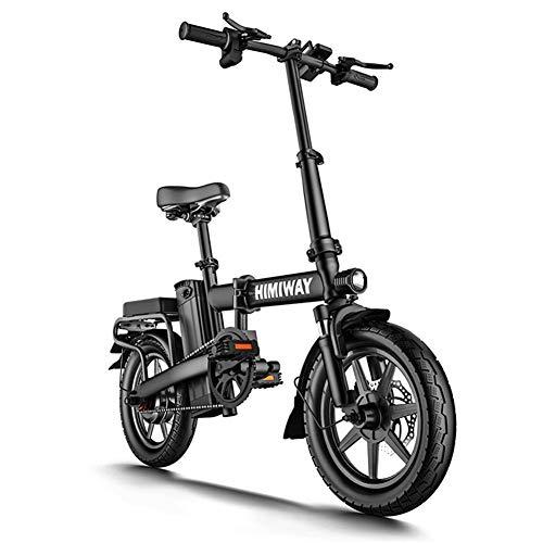 Hxl Bicicleta Eléctrica para Adultos Plegable de 14 Pulgadas Bicicleta de Montaña Urbana en la Nieve Motor sin Escobillas 350w Batería de Litio Extraíble de 48v 8ah Resistencia 30km,12AH 50KM