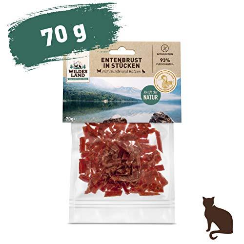 Wildes Land | Entenbrust in Stücken | 70 g | Kausnack für Katzen | Natürlich belohnen | getreidefrei | Frisches, schonend getrocknetes Fleisch | Hoher Fleischanteil | Fettarm