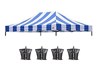 ABCCANOPY Replacement Top Cover 10x15 Pop Up Canopy Tent Top Stripe Blue Bonus Weights Bag