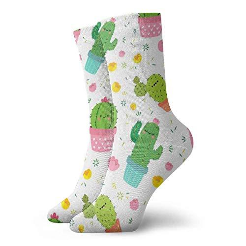Cartoon Kaktus Sukkulente Pflanze Girly Zeichnung Kunst Fuzzy Geschenk Crew Socken Herren Weiche Kleid Kurze Socken für Urlaub Athletic