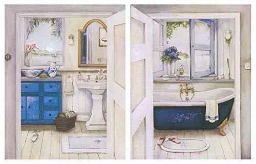 Cuadro de baño clásico/Placas de Madera Set de 2 Cuadros de 19 cm x 25 cm x 6 mm unid. Adhesivo FÁCIL COLGADO. Adorno Decorativo. Decoración Pared hogar