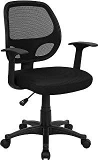 Flash Furniture Mid-Back Black Mesh Swivel Task Office Chair with T-Arms