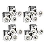 Tubayia 4 pares de ruedas dobles para puerta de ducha, ruedas para puerta corredera, para cabina de ducha