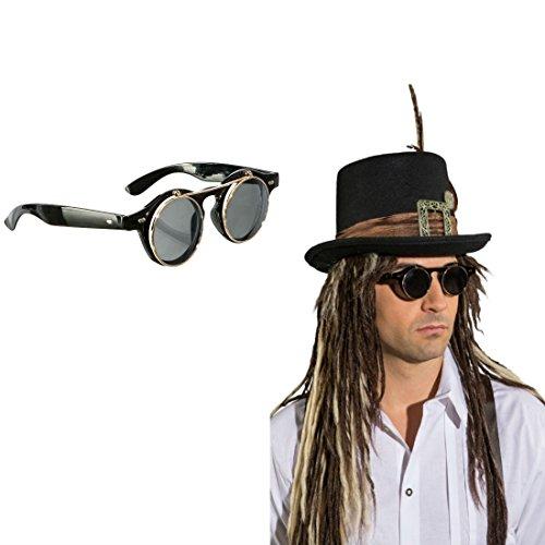 NET TOYS Steampunk Brille Gothic Klappbrille Runde Halloween Sonnenbrille Viktorianische Faschingsbrille Aufklappbare Spaßbrille Vampir Rundbrille Karnevalskostüme Accessoires