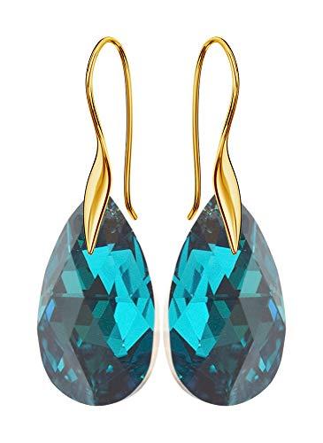 'Gancio placcato oro * Mandele * 22mm * turchese orecchini da donna Cal bello orecchini con cristalli Swarovski–Meravigliosa orecchini con gioielli custodia