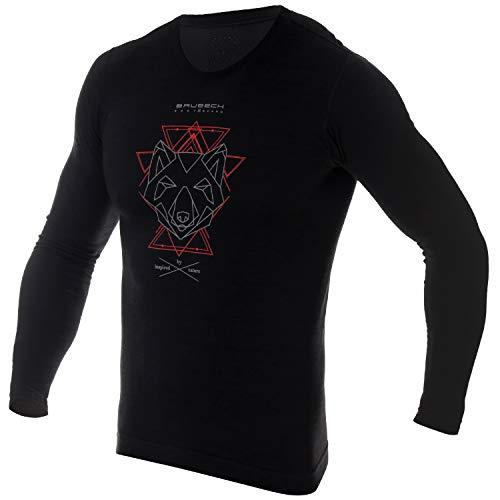 BRUBECK Herren Langarmshirt Wandern | Funktionsshirt Outdoor | Wandershirt atmungsaktiv | Trekkingshirt | T-Shirt nahtlos | Wandern | 27% Merinowolle | LS14140A | Gr. XXL | Schwarz - Rot
