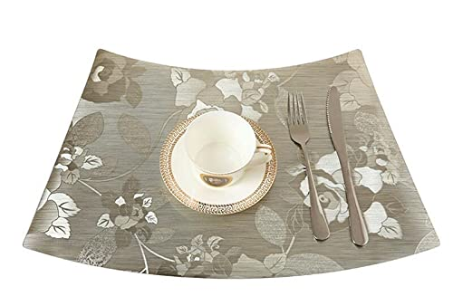 Longsheng PVC Tablecloth Waterproof Western Placemat Printing Home Hotel Table Coaster _TD274 Light Gold 33x51cm