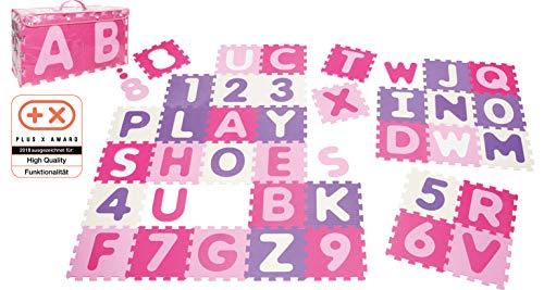 Playshoes 308746 – Puzzlematte für Babys und Kinder, Buchstaben und Zahlen, Spielmatte Spielteppich, Schaumstoffmatte, 36 teilig, Pastellfarben