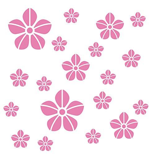 kleb-Drauf® | 19 Blumen | Rosa - matt | Wandtattoo Wandaufkleber Wandsticker Aufkleber Sticker | Wohnzimmer Schlafzimmer Kinderzimmer Küche Bad | Deko Wände Glas Fenster Tür Fliese