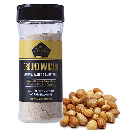 Cerez Pazari Ground Mahlab 150gr- 5.3oz- Mahlepi -Mahaleb -Mahlep -Mahleb Large Bottle, %100 Natural, Premium Quality, No Additives or Preservatives, Aromatic Traditional Spice for Pastry and Baking