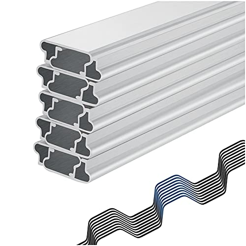 10 Pcs 6.6 Ft Aluminum Alloy Greenhouse Wiggle Wire & Lock Channel, PVC Coated Spring Wire & U-Channel Bundle Greenhouse Shading Film Attachment Channel for Greenhouse Films, Sunshade Nets