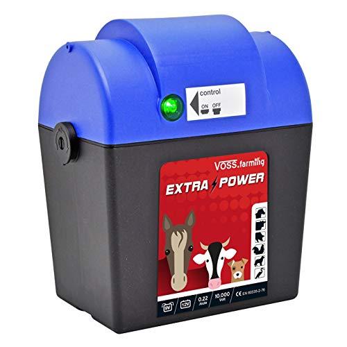 VOSS.farming 9V Weidezaungerät Extra Power 9V mit Zubehör, mobiles Elektrozaungerät für Pferde, Kühe, Rinder und Schafe