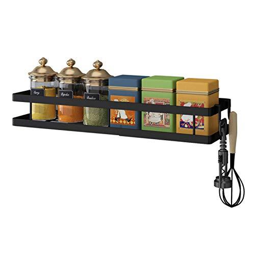 Especiero de pared, organizador de especias, estante de almacenamiento para puerta de cocina, negro, 30 cm (color: negro, tamaño: 30 cm)