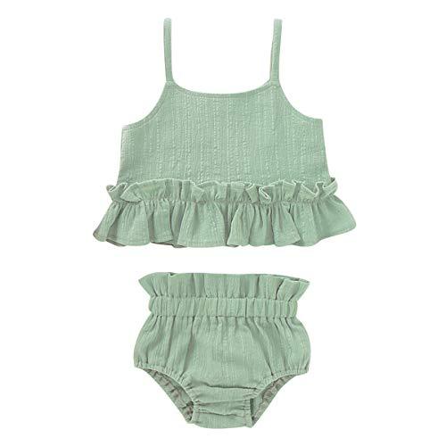 Borlai 2PCS Baby Girls Elegant Outfits Set Ruffled Tank Top and Shorts Swimwear
