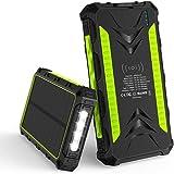 TWDYC Banque d'alimentation solaire 36000 mAh étanche 2 batteries externes USB Qi sans fil à...