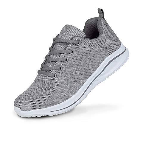 Zapatillas de entrenamiento de espuma viscoelástica para mujer, para caminar, transpirable, para gimnasio, fitness, tamaño de zapato, color Gris, talla 41 EU