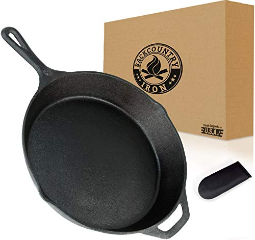 Backcountry Cast Iron Skillet(10 Inch Medium Frying Pan + Cloth Handle Mitt, Pre-Seasoned for Non-Stick Like Surface, Cookware Oven/Broiler/Grill Safe, Kitchen Deep Fryer, Restaurant Chef Quality)