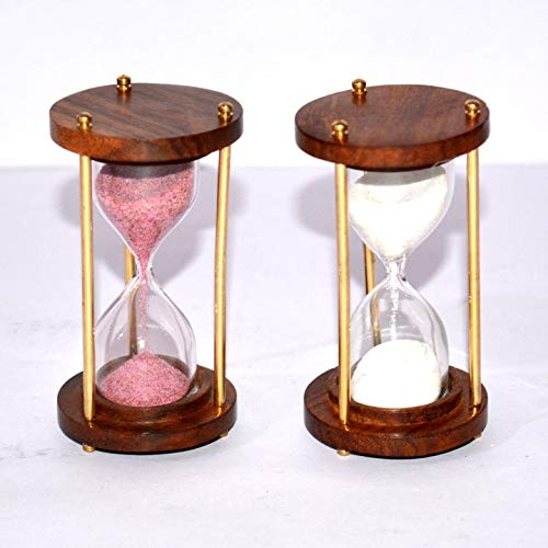 """Anaviya Handicrafts Pack of 2 Antique Brass Nautical 4"""" Wooden Sand Timer Table Decor 1 Minutes Hourglass Collectible Gift"""