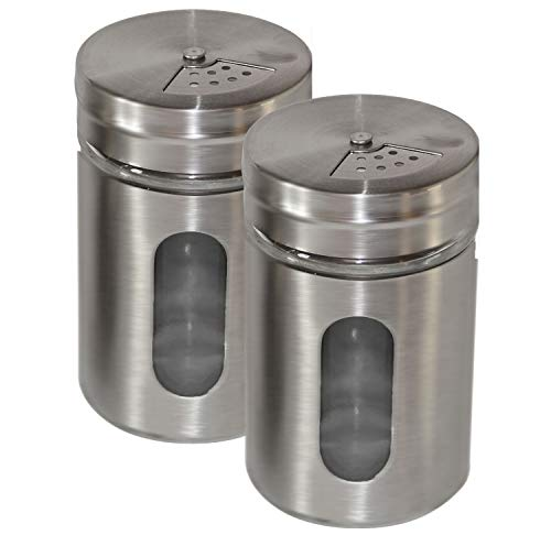 2 Stück Gewürzdose XL Gewürzgläser 300ml Gross Gewürzbehälter Streudosen aus Glass und Edelstahl Gewürzstreuer (2 Stück)