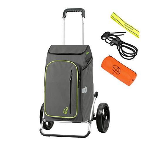 Andersen Einkaufstrolley Royal XXL und 56 Liter Einkaufstasche Toto grau mit Kühlfach, Regencape, Reflektor, Spanngurt