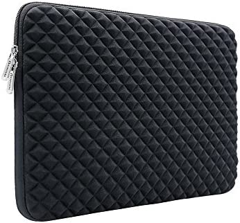 RAINYEAR 14 Inch Laptop Sleeve Diamond Foam Shock Resistant Neoprene Padded Case Fluffy Lining product image