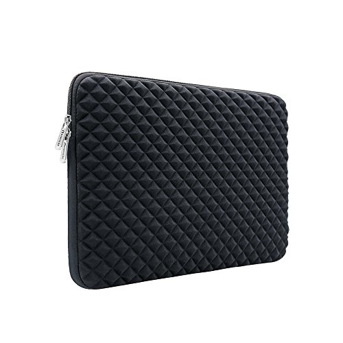 RAINYEAR 14 Inch Laptop Sleeve Diamond Foam Shock Resistant Neoprene Padded Case Fluffy Lining Protective Zipper Cover Carrying Bag Compatible with 14' Notebook Computer Tablet Chromebook(Black)