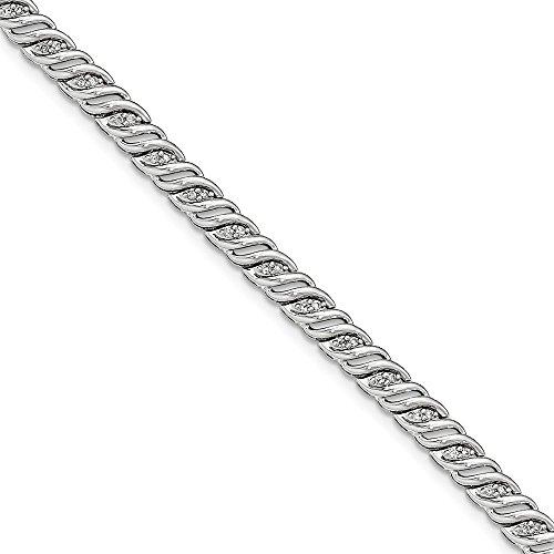 14k White Gold Diamond Bracelet 7.50 Inch Fancy Fine Jewellery For Women Gifts For Her