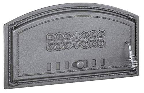 BBQrolling Pizzaofentür Premium 490x280 Backofentür aus Gusseisen Steinofentür Offentür Brotofentür/Links/