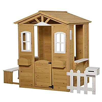 Outsunny Outdoor Playhouse for Kids Wooden Cottage with Working Doors Windows & Mailbox, Pretend Play House for Age 3-6 Years from Aosom LLC