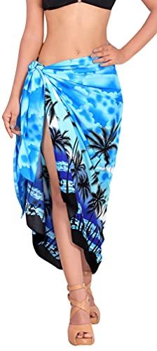 LA LEELA d Forma Pareo Resortwear Encubrir Vestido de Traje de baño de Playa de baño Bikini Azul Envoltura