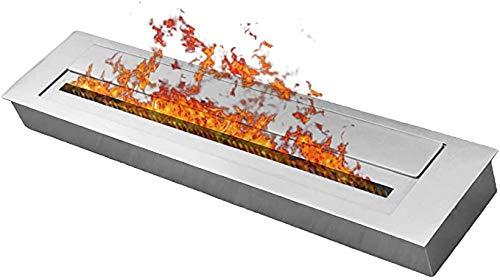 DRULINE 60 cm Bio Ethanol Brennkammer 3,5l Behälter Doppelwandig Edelstahl Brenngel Kamin Wandkamin Tischkamin Gelkamin Tischfeuer Regulierbare EthanolKamin Brenner Silber