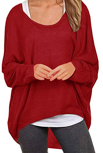 UGET Women's Sweater Casual Oversized Baggy Off-Shoulder Shirts Batwing Sleeve Pullover Shirts Tops Asia S Red