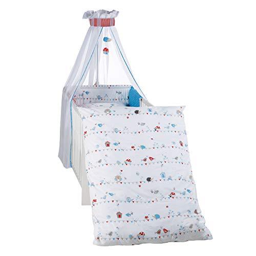roba Kinder-Bettgarnitur 4-tlg, Babybett-Ausstattung 'Vogeltanz', Bettset 4-teilig: Bettwäsche 100x135 (Decke & Kissen), Nestchen, Himmel
