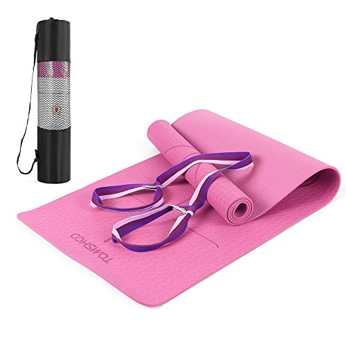 TOMSHOO Yoga Mat, TPE Non Slip Fitness Exercise Mat Eco-Friendly with Carrying Strap for Women and Men, Workout Mat with Carry Bag for Yoga Pilates Meditation Gymnastics Travel Home 183 x 61 x 0.6 cm