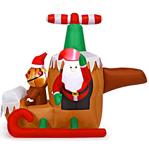 Tangkula Christmas Inflatable Santa Claus with Airplane, 4.9FT Self Inflating Santa & Gingerbread Man with Internal LED Bulbs 190T Polyester Cloth & Waterproof Fan, Blow Up Santa Claus with Plane