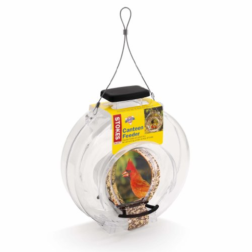 Stokes Select Clear Plastic Canteen-Style Bird Feeder with Two Perches, 5 Pound Seed Capacity