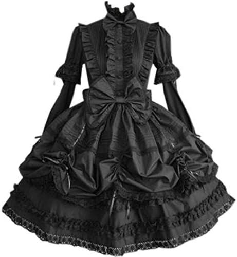Loli Miss Womens Classic Black Layered Bowknot Lace Up Cotton Lolita Dress XXL Black product image