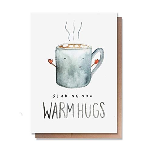 Wunderkid Sending You Warm Hugs, Valentine's Day Love Card, Cute Miss Card (1 Single Card, Blank inside)