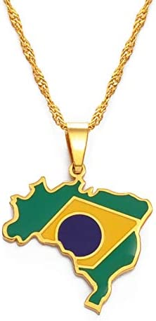 Brazil Map And Flag Outlet sale feature Pendant Necklace Super intense SALE Gold Color Brasil Je Maps