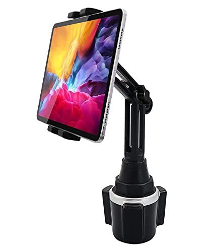 woleyi Supporto Tablet Auto Portabicchieri, Porta Tablet & Telefono Tazza Camion con Braccio Regolabile, per iPad PRO 12.9 10.5 9.7 Air Mini 5 4 3 2, Samsung Tab, iPhone 12 PRO Max e 4-13 Pollice