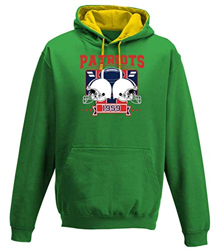 Shirt Happenz Patriots 1959 New England Pats Football An Jedem Verdammten Sonntag Super Bowl Premium Varsity Hoodie Pulli Kontrasthoodie Kapuzenpullover, Größe:S, Farbe:Waldgrün Gold JH003