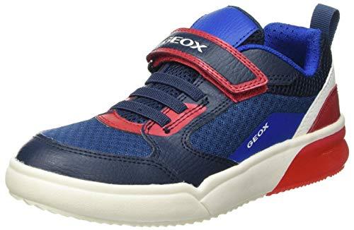 Geox J GRAYJAY Boy D Sneaker, Navy/RED, 27 EU