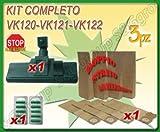 S&G group Spazzola con Ruote 8 Sacchi 10 PROFUMINI ASPIRAPOLVERE Folletto VK 120 121 122