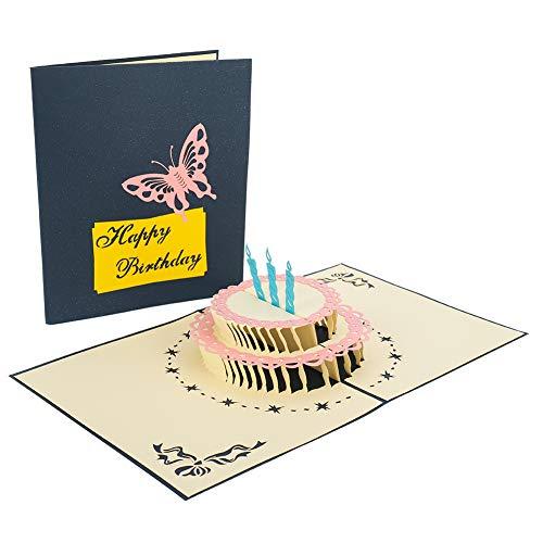 Fancyleo EU - Tarjeta de felicitación de cumpleaños en 3D, hecha a mano, con tarta de 2 pisos, tarjeta de felicitación con sobre para ella, para mamá, niños, amigos, color azul