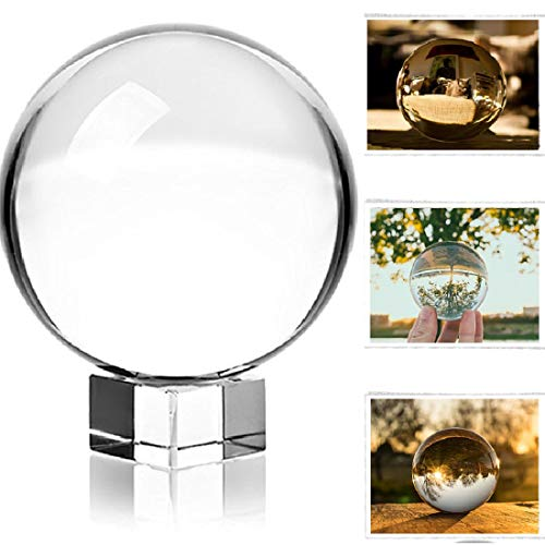 Photograph Crystal Ball with Stand and Pouch, K9 Crystal Suncatchers Ball with Microfiber Pouch, Decorative and Photography Accessory (3-1/5' Dia, K9 Clear)